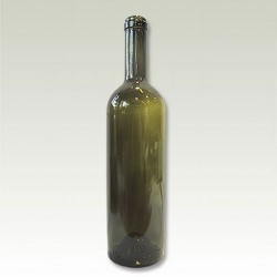 Round green glass bottle with cap 750ml