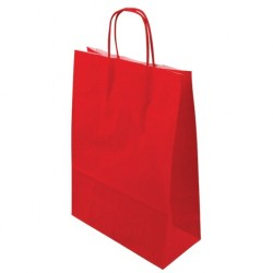 Paper bag twisted red
