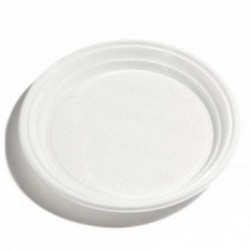 Plastic shallow white plate 23cm