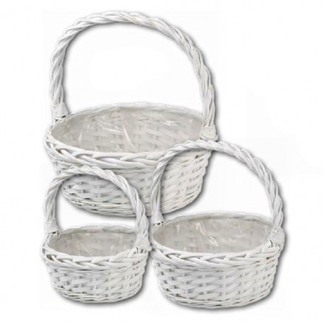 Round deep white basket with handle