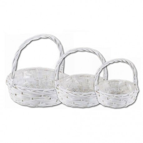 Round white basket with handle
