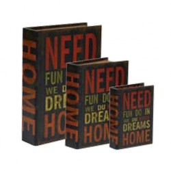 """Wooden book with lining """"Need fun"""""""