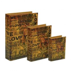 "Wooden book with lining ""Love"""