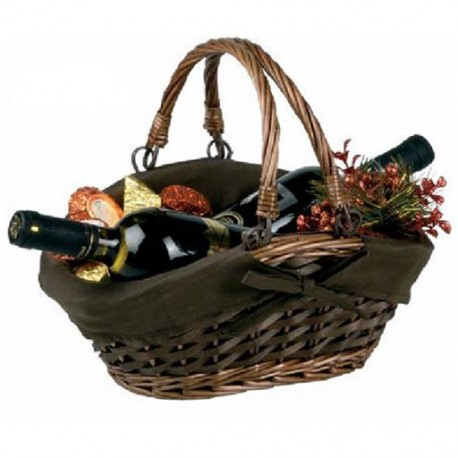 Basket with double handle and lining